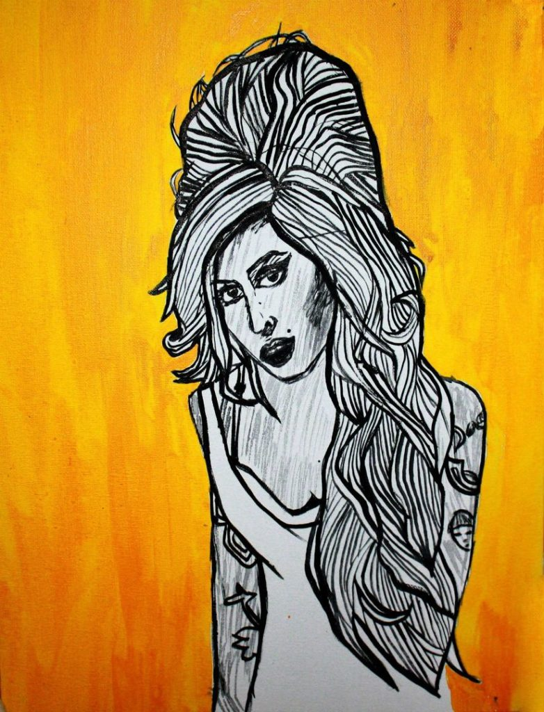 Pop-art in acrylic on canvas 'Amy Winehouse'