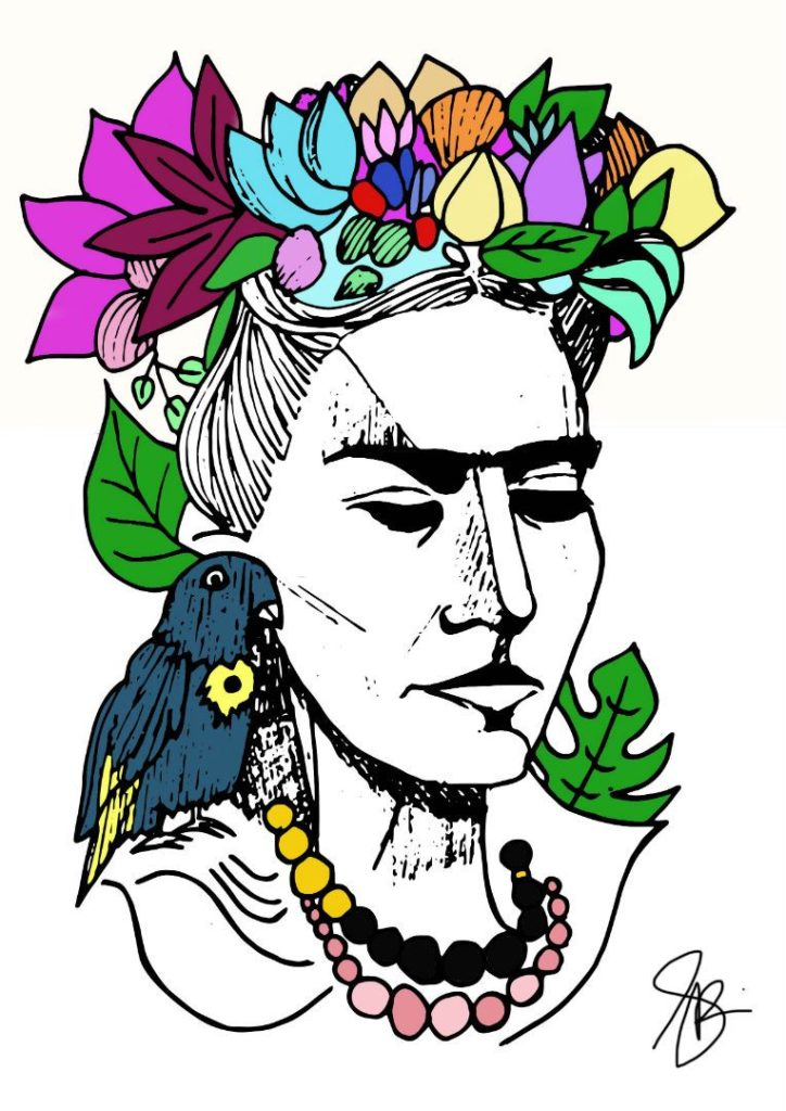 Pop-art in mixed media 'Frida'