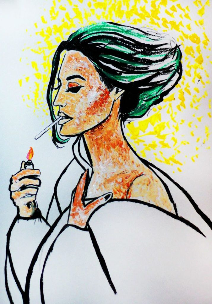 Portrait in acrylic 'Girl with a cigarette' sold at the Colombo Design Market