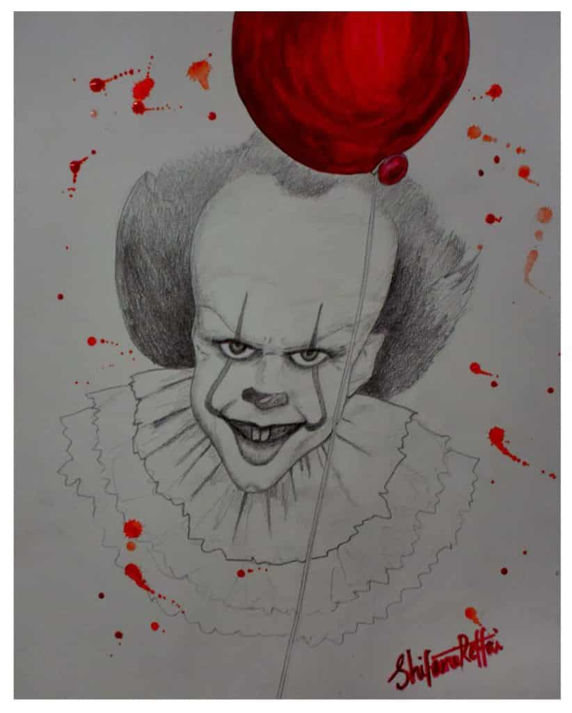 Pop-art in pencil and watercolours 'Pennywise'
