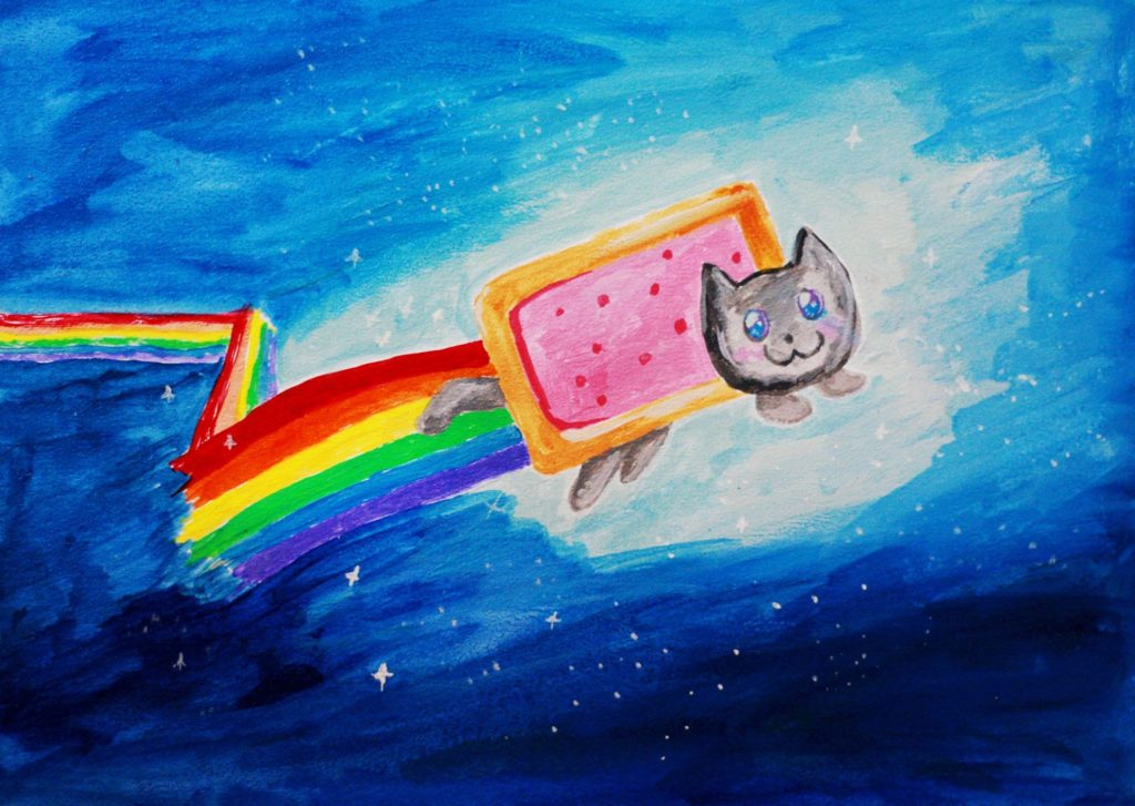 Pop-art in acrylic 'Nyan Cat' sold at Gateway College Fair